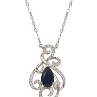 Lord & Taylor 14K White Gold Sapphire and Diamond Pendant Necklace