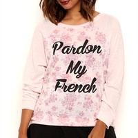 Plus Size Long Sleeve Ballet Neck Top with Pardon My French Screen