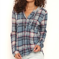 Long Sleeve Plaid Button Front Top with Knit Hood