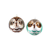 Whooo Loves Glass Owl Ornaments - Set of 2
