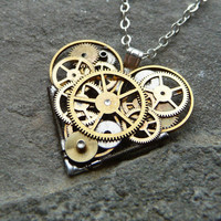 "Clockwork Heart Necklace ""Love Device"" Elegant Industrial Heart Steampunk Necklace Mechanical Love Sculpture by A Mechanical Mind"