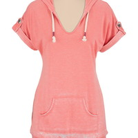 Washed rolled sleeve tunic top
