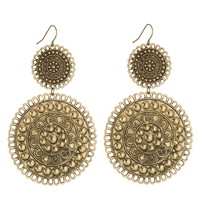 Gold-colored Large double disc earrings