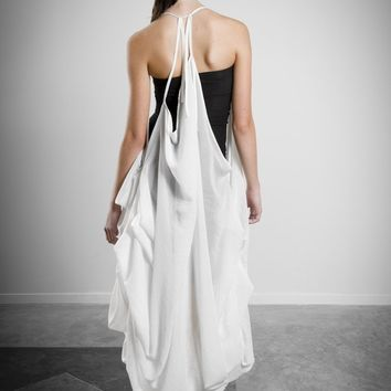 White Sheer Floor Length Dress, Strapless Black Bamboo Dress, draped dress, backless, Thin Spaghetti Straps, Asymmetrical Dress, Draped