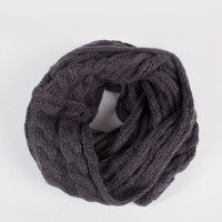 Soft Twist Knit Infinity Scarf - Charcoal - Charcoal / One