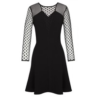 Sandro ROHAN Dotted Lace Fit and Flare Dress at Sandro US