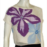 Cream Cotton Crochet Vintage 70s Cropped Top