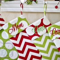 Personalized Christmas Stocking - Custom made to order - Many fabric options to choose from - Padded - Holiday Decor - Shipping Discount