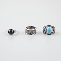 FULL TILT 3 Piece Stackable Stone/Wide Text Rings 246345140   Rings