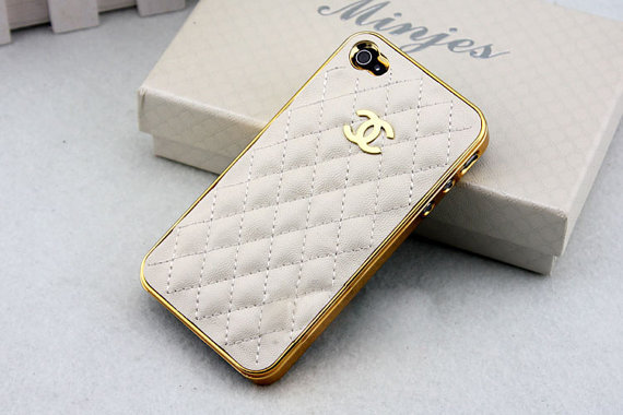 leather Chanel  iPhone case White cover gold sides