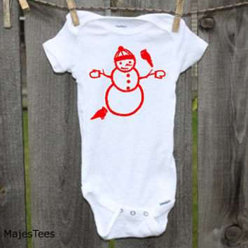 Snowman Bird Onesuits®, Christmas baby, Winter baby