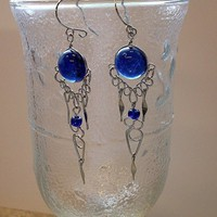 Lapis Blue cabochon shape Murano glass earrings chandelier.