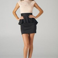 Pink and Black Lace Top Peplum Dress with Open Back