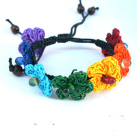 Flower Bracelet Rainbow Colors Crochet Flower Bracelet Beads Accessories for women Teenager - By  PIYOYO