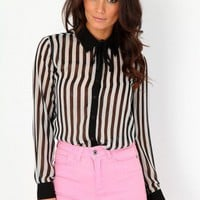 Missguided - Jesin Long Sleeve Striped Blouse