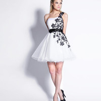 White & Black Floral Embroidered Tulle One Shoulder Homecoming Dress - Unique Vintage - Homecoming Dresses, Pinup & Prom Dresses.