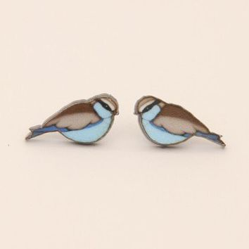 JAN4b : Bird Studs - Bluebird - earrings & studs - jewellery
