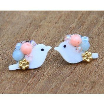 JBS1i : Bird & Beads Studs - Blue/Peach - earrings & studs - jewellery