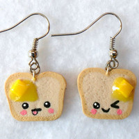Cute Kawaii Toast Earrings, with Melted Butter and Emotions Faces :)