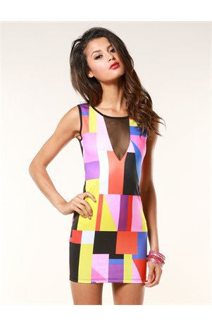 A'GACI Deep Cut Block Dress - Dresses