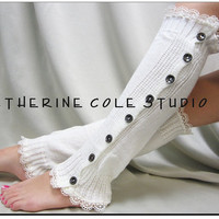 leg warmers Button down venise cream  lace edged  for women great with or without boots by Catherine Cole Studio lace legwarmers leg warmers