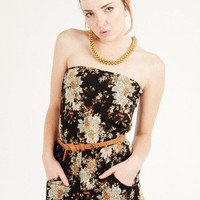 BLACK RUFFLED FLORAL ROMPER @ KiwiLook fashion