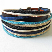 Jewelry bangle leather bracelet buckle bracelet ropes bracelet men bracelet women bracelet made of  leather and ropes cuff bracelet  SH-12O1
