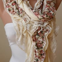 Beige - Light Yellow Lace and Cotton Scarf - Summer Collection -