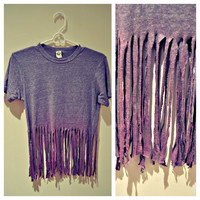 Purple Medium Weight Dip Dyed Fringed Shirt