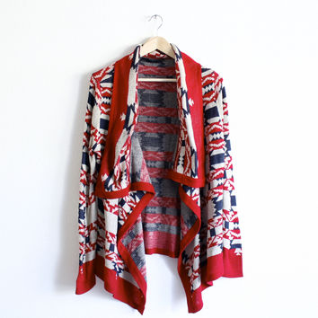 all that aztec native tribal pattern print cardigan, burgundy cardigans sweater open oversized knit knitted soft cozy warm fall winter women