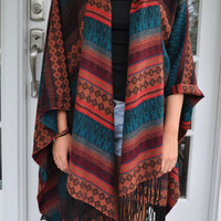 Aztec Oversized Poncho Cardigan