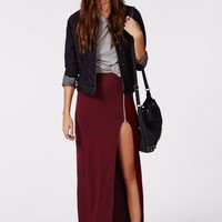 Missguided - Natallia Zip Side Split Maxi Skirt Burgundy