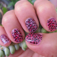 rawr PINK LEOPARD PRINT grrrrrrr nail decals lovely and wild