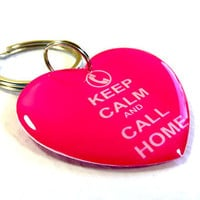 Pet Tags Keep Calm Call Home Heart Shape by ID4Pet