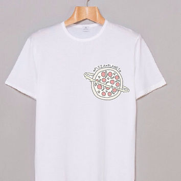 Planet Pizza Graphic White Hipster Teen From Wreckedvibes
