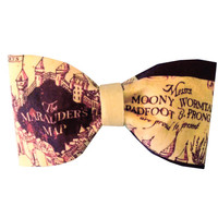 Marauder's Map Inspired Harry Potter Hair Bow or Bow Tie Geeky Fabric Bow