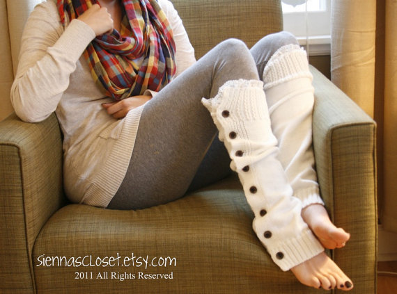 The Miss Molly- Creme de Creme Soft Slouchy Button Down LEGWARMERS w/ Ivory Knit Lace - Leg Warmers (item no. 7-8)
