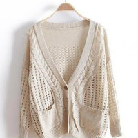 Beige V Neck Bat Loose Sweater$40.00