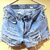 distressed spiked high-waisted cutoffs