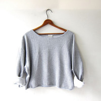 vintage cropped shirt. oversized boxy shirt. Textured ribbed pullover. Slouchy knit shirt.