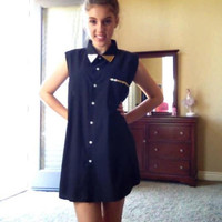 STUDDED BLACK & GOLD Shirt Dress/ Tunic