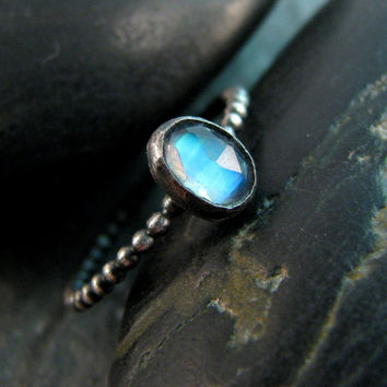 Rainbow Moonstone Ring - Size 7 - Blue Moonstone and Oxidized Sterling Silver Gemstone Ring