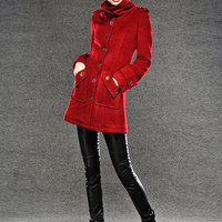 100% Red winter jacket for women cashmere coat warm coat