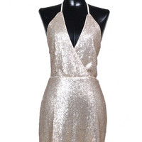 Champagne Taste Open Back Sequin Dress - Rose Gold   Daily Chic