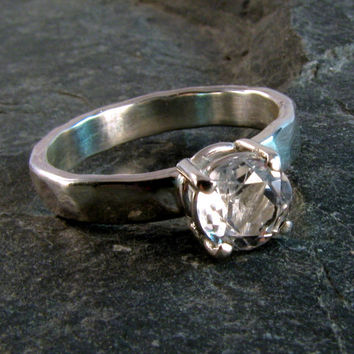 White Topaz and Sterling Silver Ring - White Topaz Ring - Handcrafted Hammered Ring - Size 6.5