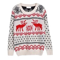 niceeshop(TM) Women Vintage Reindeer Snowman Christmas Knit Pullover Sweater