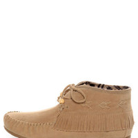 Diva Lounge Tribute 10 Natural Fringe Moccasin Booties - $34.00