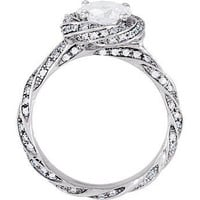 Round 1.00ct Center Twist Diamond Engagement Ring 0.33pt  14kt White Gold