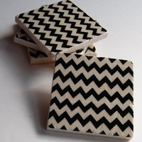 Black Chevron Coasters on Luulla