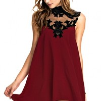 Velvet Floral Inserting High Neck Skater Dress - OASAP.com